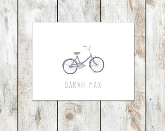 Personalized Vintage Bicycle Folded Note Cards - Teacher Appreciation Gifts