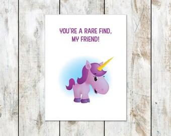 You're A Rare Find My Friend Note Card - Uniforn Inspirational Card - Rare Friend Greeting Card