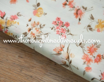 """Pretty Wildflower Floral  - Vintage Fabric 50s 60s New Old Stock Gardens 36"""" wide"""