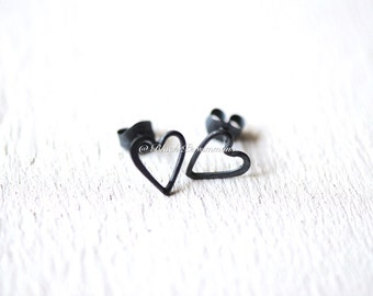 Oxidized Sterling Silver Heart Post Earrings - Solid 925 - Insurance Included