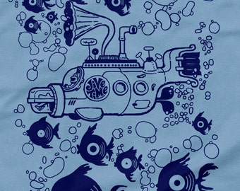 Jive Time Submarine Tee: Light Blue