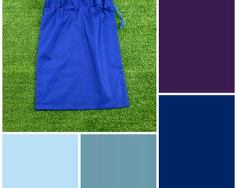 Medium cotton drawstring bag, NEW colours, blue purple for toys, library, storage