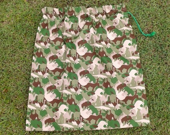 Library bag, large cotton drawstring bag, animal camouflage, for toys school storage