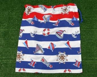 Nautical pattern cotton drawstring bag, large drawstring storage bag, library bag