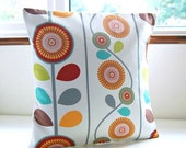 RESERVED  16 inch retro style cushion cover, red, lime green, apricot orange, turquoise, grey flowers floral decorative pillow cover