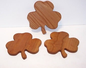 Mini Shamrock Cutting Board Set of 3 --Handcrafted from Cherry Hardwood and Oak Hardwood