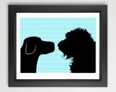 Black Labrador With Black Labradoodle Dogs Print Face to face  - Fine art print, two dogs, dog decor, black silhouette, pet lover
