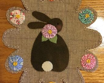 Bunny Wool Penny Rug