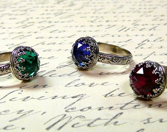 Athena Ring - Vintage Inspired Engagement Sterling Silver Lab Created Blue Sapphire, Red Ruby or Green Emerald Ring