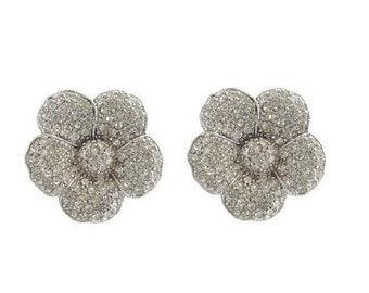 Forget Me Knot Earrings, Vintage Statement Czech Rhinestone Clip On Earrings, Vintage Bridal Jewelry, Czech Vintage Jewellery