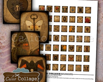 Lock and Key Digital Collage Sheet Scrabble Tile Size Images for Scrabble Pendants, Decoupage, Wood Tiles, Game Tiles, Digital Images