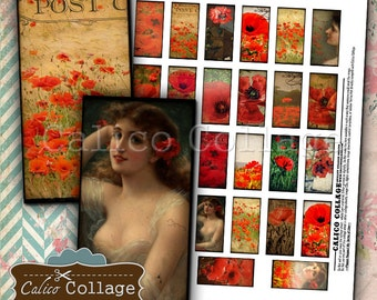 Sweet Poppies Digital Collage Sheet 1x2 Domino Images for Bezel Settngs, Decoupage, Journalling, Planners, Jewelry, Pendants, Calico Collage