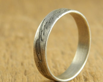 Personalized wedding band, engraved names  *Weathered Oxidized finish* 5 mm sterling silver, simple wedding band, 1.5 mm thick.