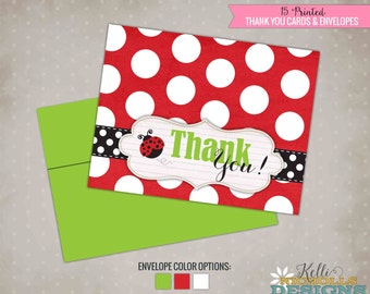 Ladybug Girl's Birthday Party Thank You Cards, Lady Bug Folding Thank You Notes #B111