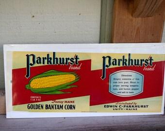 Vintage Parkhurst Brand Corn Label