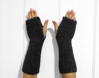 SALE Long Fingerless Gloves / Armwarmers [Gray]