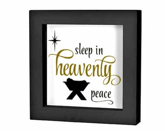 """Christmas Shadow Box Decal Christmas Decoration """" Away in a Manger Heavenly Peace"""" Christmas Charger Plate Decal Tile Decal Holiday Decal"""