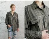 ON SALE // grey silk button down  / minimalist long sleeve silk blouse / oversize minimal beaded silk top