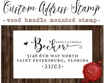 RETURN ADDRESS STAMP,  wood handle mounted rubber stamp - style 1162E