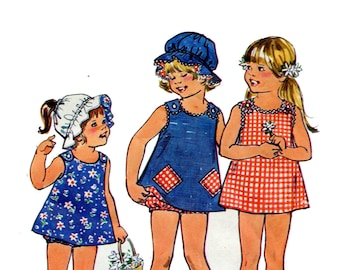 1970s Toddlers Reversible Play Dress Pattern Easy Panties and Hat Button Shoulder Dress Jiffy Simplicity 6951 Size 3 Vintage Sewing Pattern