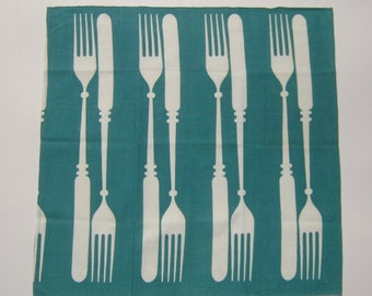 Vintage Martex Towel Fab Fifties Knife & Fork