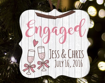 Engagement Christmas ornament - great gift for newly engaged couple FCECG1