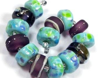 Quinlan Glass Amethyst Rainforest Handmade Lampwork Glass Beads