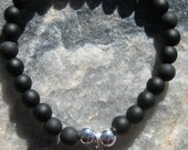 Amethyst mala bracelet with Om charm