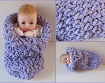 Huggums Baby Doll Sleeping Bag, Lavender Cocoon, Blanket, Doll Bunting, Snuggle, Crochet Doll Clothes, Fits Huggums and 12 inch Dolls