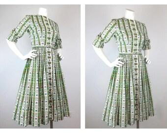 Vintage 60s Oktoberfest, Folk Style Cotton Print Dress, Sz S