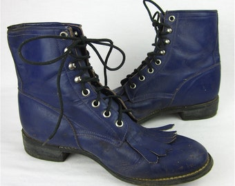 Vintage Purple Leather Justin Fringed Roper Boots, Cowgirl Chic