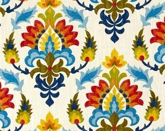 "Southwestern Curtains, Bright Blue Orange Boho Drapes, Colorful Damask Curtains, Bold Hipster Window Curtains, One Pair Rod-Pocket 50""W"
