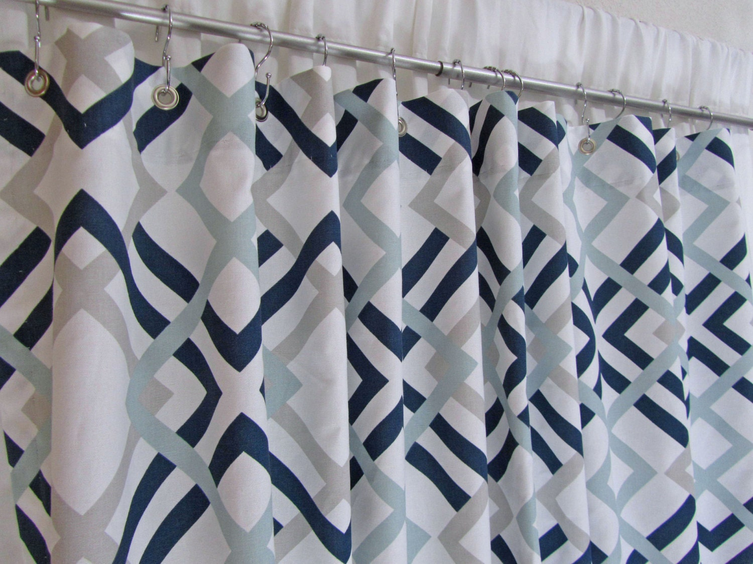 Lattice Fabric Shower Curtain Modern Shower Curtain Navy
