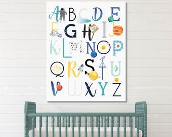 ABC Wall Art, Space Nursery Decor, Baby Nursery Art, Kids Room Art, Nursery Decor, Nursery Artwork // ArtPrint or Canvas // N-XC08-1PS AA1