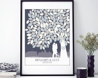 Unique Guestbook, Wedding Guestbook, Wedding Tree, Guestbook, Guestbook Canvas, Poster, Custom Guestbook, Guest book // W-T05-1PS HH3 05P