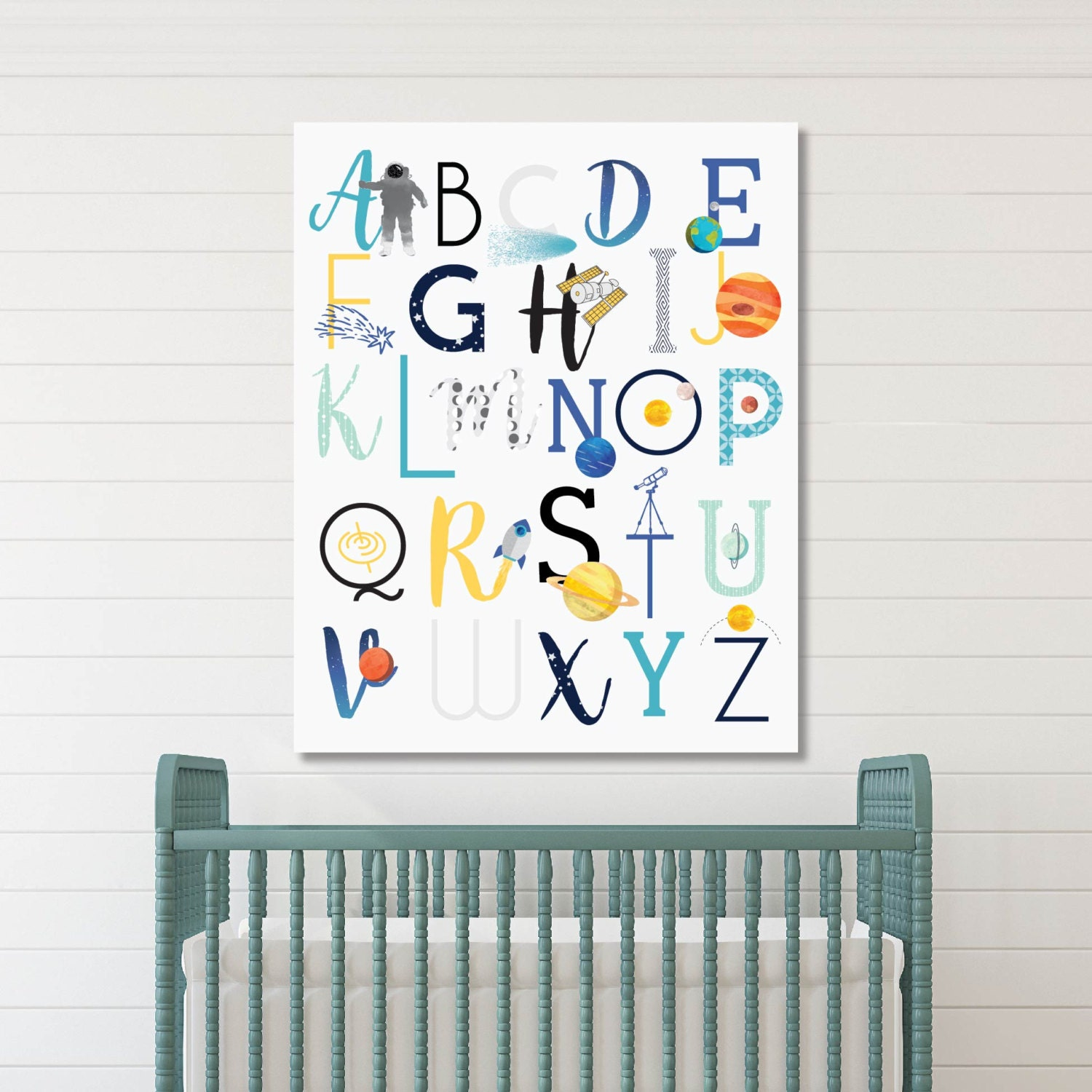 Baby Nursery Art Print Dog Abc Nursery Decor Alphabet Print: ABC Wall Art Space Nursery Decor Baby Nursery Art Kids Room