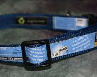 Adjustable Dog Collar from recycled Blue Moon Belgian White Beer Labels