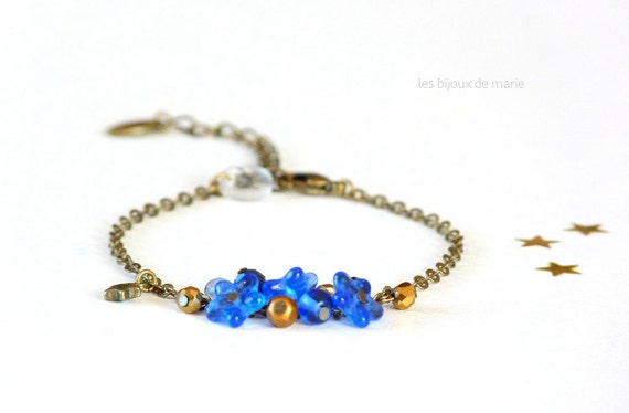Delicate blue and gold charms bracelet,Boho chic bracelet,Boho chic jewelry,Delicate jewelry,Delicate bracelet,Charms bracelet