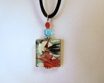 FLYING WITCH and Full Moon Pendant / Vintage Art / Scrabble Tile Necklace with Satin Cord / Beaded Charm