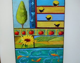Nature Painting -NATURE'S GIFTS - 18x24 deep edge canvas - Birds- fish - sunflower- fields -fruit-butterflies- tree- stream- GREAT color