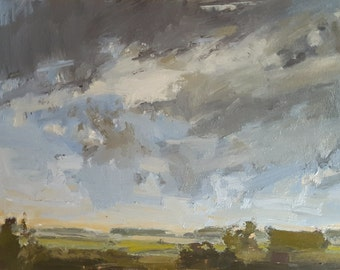 Sky Before Hermine   Oil Painting   6 x 7.5