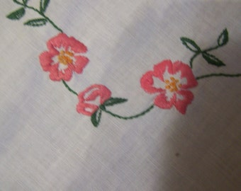 "Vintage 1950's Simple Tablecloth, Hand Embroidered, Perfect for Table Topper or Card Table, 34"" Square,FREE SHIPPPING"