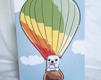 Bulldog Hot Air Balloon Greeting Card