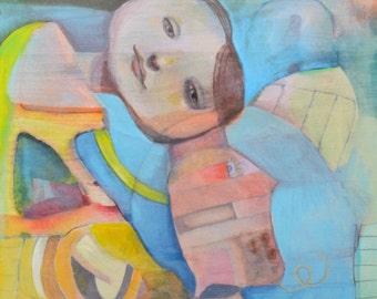 OOAK Original Listening Painting on Panel