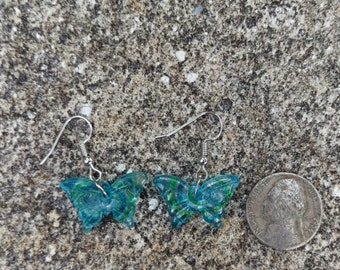 Light Blue and Green Butterfly Murano Glass Earrings - 1 Pair