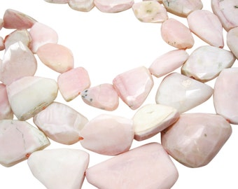 Pink Opal Beads, Pink Peruvian Opal, Pink Opal Nuggets, 23mm x 32mm, Faceted Nuggets, Loveofjewelry, Weddings, Brides Bridal, SKU 4091A