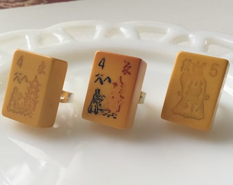 Mah jong bakelite jewelry * 1940s bakelite * flower tiles * numerology * vintage rings * sold separately