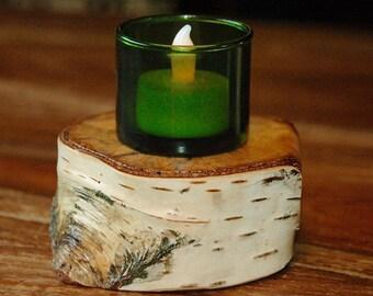 Birch wood candle/votive/tea light stand - reversible