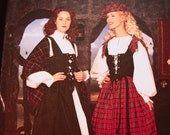 Womens Renaissance Faire Medieval Madrigal Celtic Dress Scottish Dress Costume Pattern Misses size 6 8 10 12 UNCUT