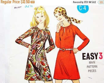 Sewing Pattern SALE 1970s Dress Pattern Butterick Misses size 10 UNCUT Womens Mini A Line Dress Vintage Sewing Pattern 70s Easy to Sew Patte